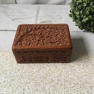 Hand Carved Wooden Trinket Jewelry Box